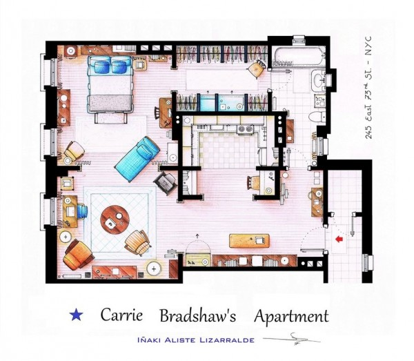 Sex-and-the-City-Carrie-Bradshaws-Apartment-Floor-Plans-600x523
