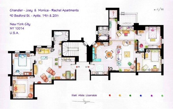 Friends-Chandler-and-Joeys-and-Monica-and-Rachels-Apartment-Floor-Plans-600x377