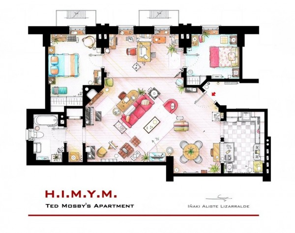 How-I-Met-Your-Mothers-Ted-Mosbys-2-Bedroom-Apartment-600x474